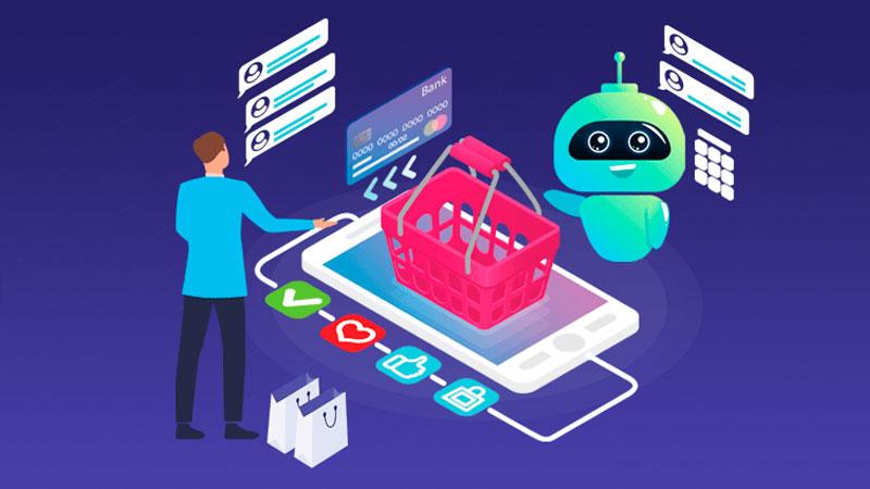 Consumidor comprando em seu celular através de um chatbot