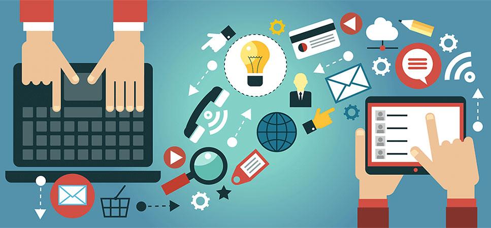 Gráfico demonstrando ícones relacionados à marketing (cartões, telefones, emails) e dois pares de mãos usando um notebook e um tablet