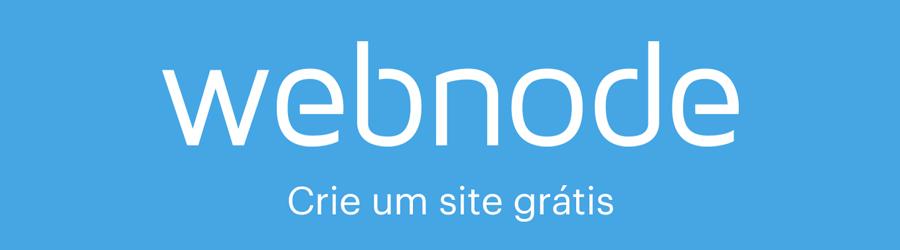 """Logo da Webnode com texto """"Crie um site grátis"""""""
