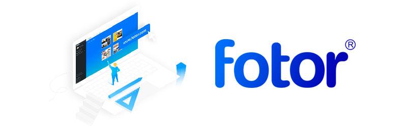 Logo do Fotor com um ícone de um notebook