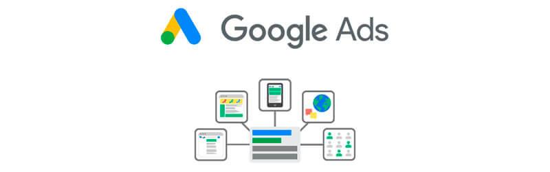 Logo do GoogleAds acompanhada com elementos de tecnologia