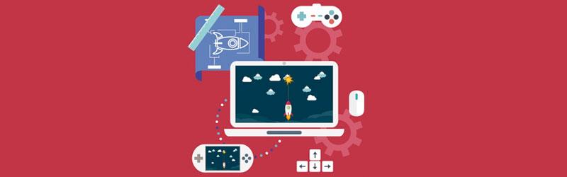 Notebook com um jogo de naves aberto com um controle um mouse um videogame portátil e uma planta da nave usada no jogo