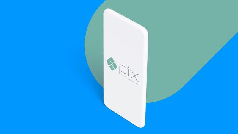 Celular com o logo do Pix em sua tela