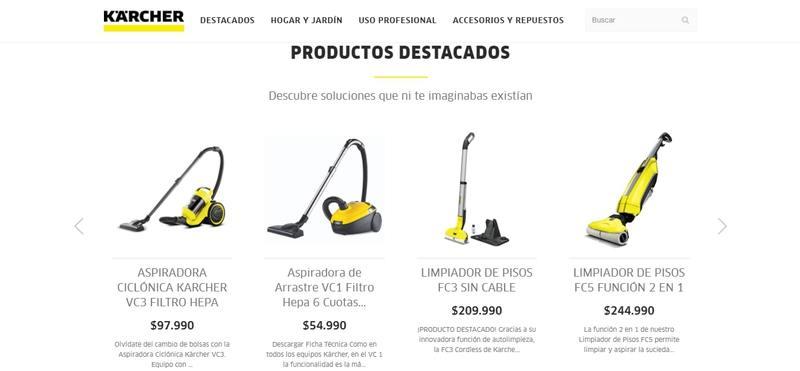 Sitio web Kärcher Store Chile