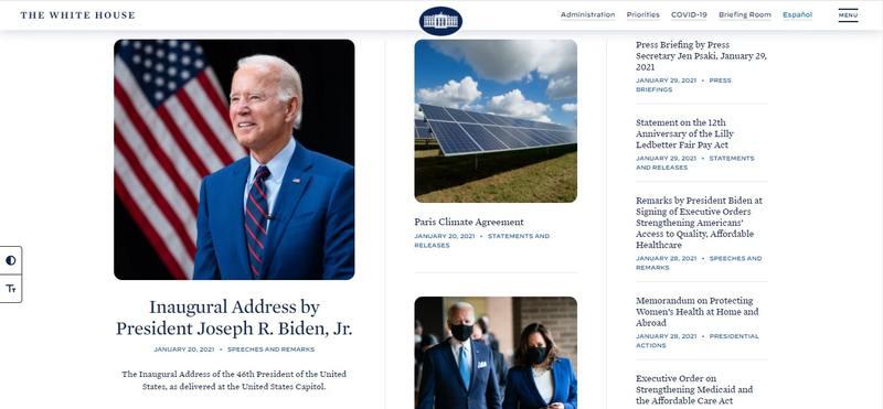 Página web de la Casa Blanca
