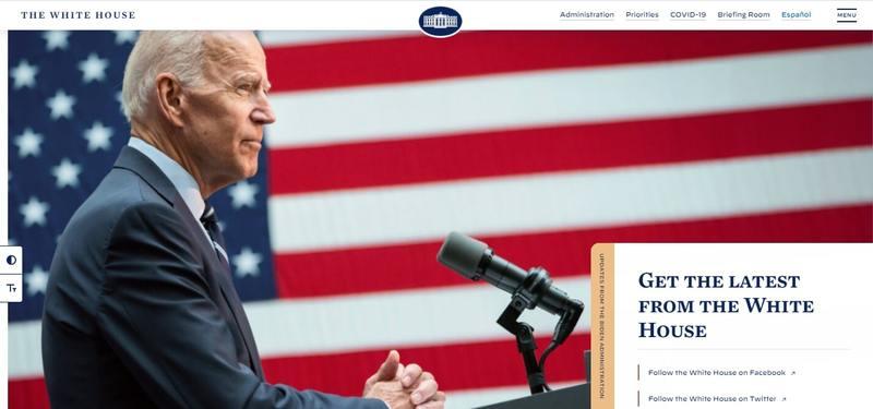Página web de la Casa Blanca hecha en WordPress