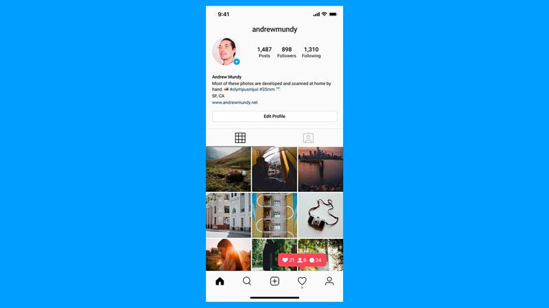 Perfil de instagram em uma tela de celular