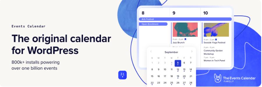 Banner do plugin de eventos para WordPress The Events Calendar