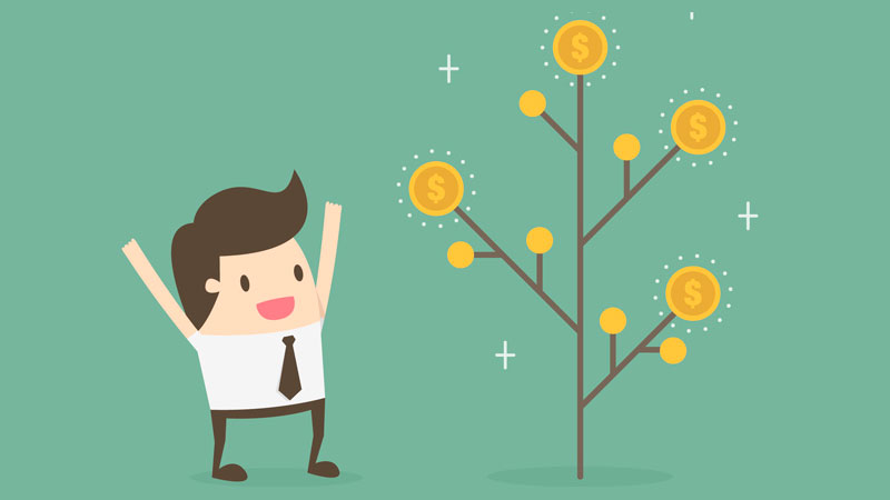 Pessoa ao lado de uma ramificação de oportunidades para gerar renda passiva