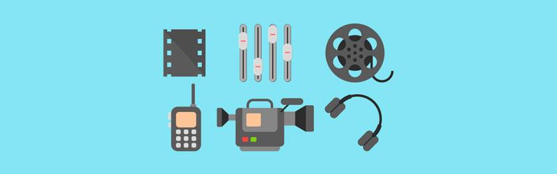 Camera, filme, gravador, fone e rolo de filme