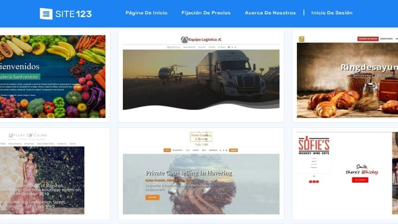 Ejemplos de sitios web en SITE123