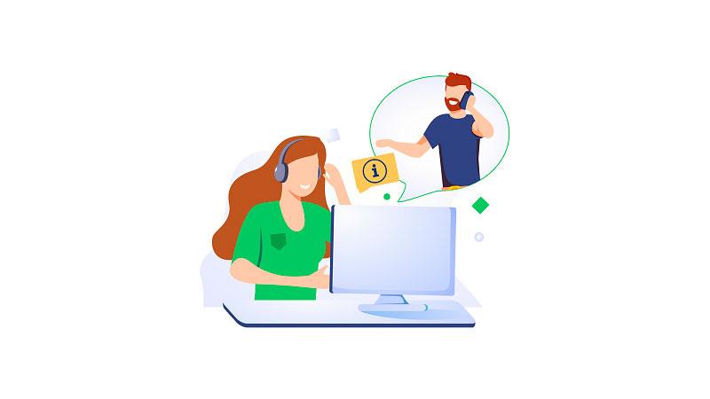 Atendente virtual ouvindo os problemas de seu cliente
