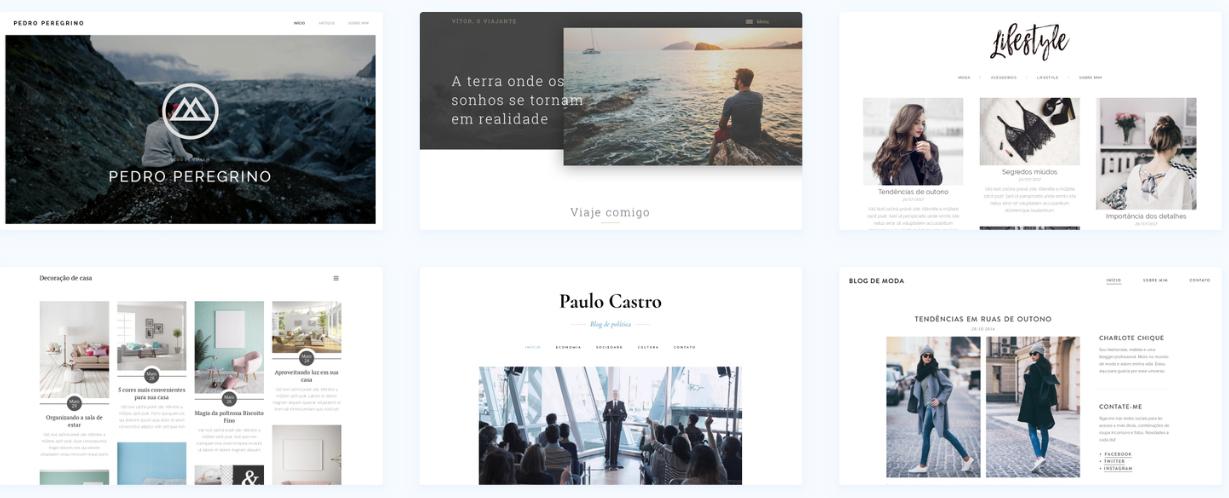 Templates de blogs disponíveis no Webnode