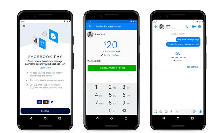 Imagens de divulgação do Facebook Pay exibindo três frentes de smartphone lado a lado