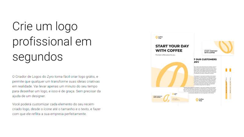 Imagem com um texto descritivo do criador de logos do Zyro