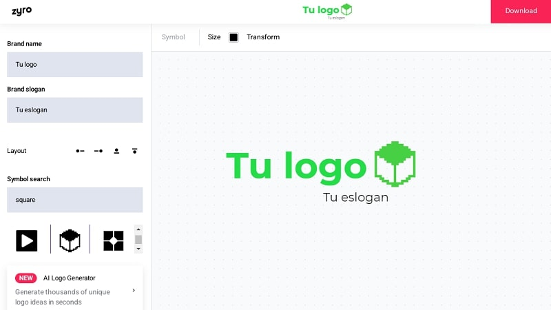 Crea logos en Zyro