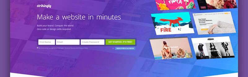Captura de tela do site oficial da plataforma Strikingly