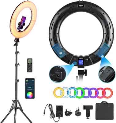 Weeylite - Aro de luz LED RGB de 18 pulgadas 360°