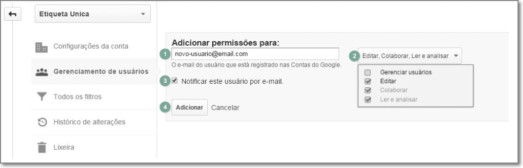 Adicionar usuário no Google Analytics
