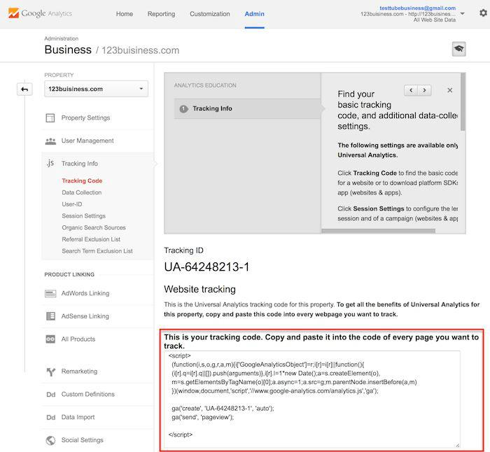 instalação do código no Google Analytics