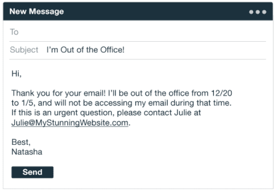 Out-of-office email reply