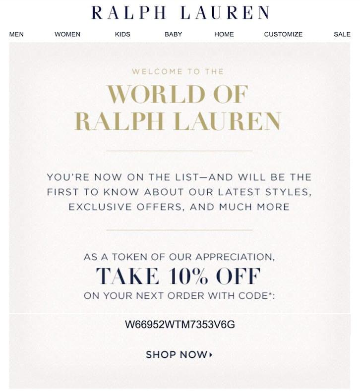 Welcome message - Ralph Lauren