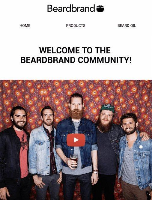Beardbrand welcome email example bearded gentlemen on a wallpaper background