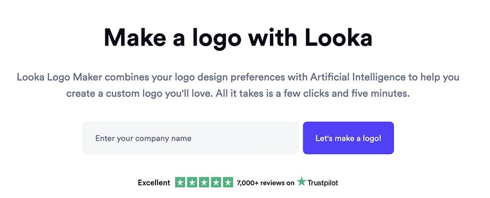 Make a logo with Looka interface