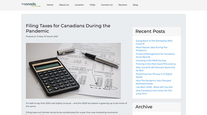MyCanada article on Filing Taxes for Canadians During the Pandemic