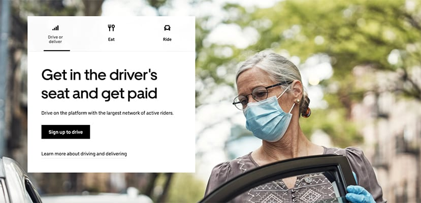 """Uber's """"get in the driver's seat and get paid"""" sign up screen"""