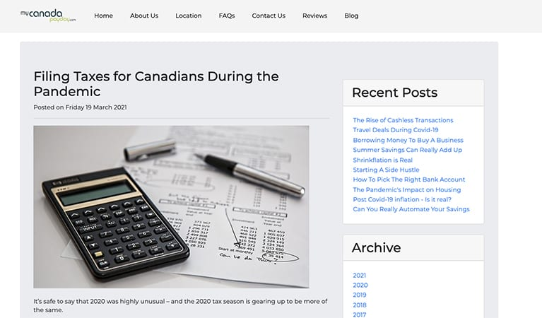 Filing Taxes for Canadians During the Pandemic article at My Canada Payday