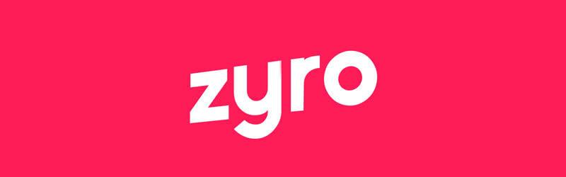 Logo da Zyro, white letters in a red background