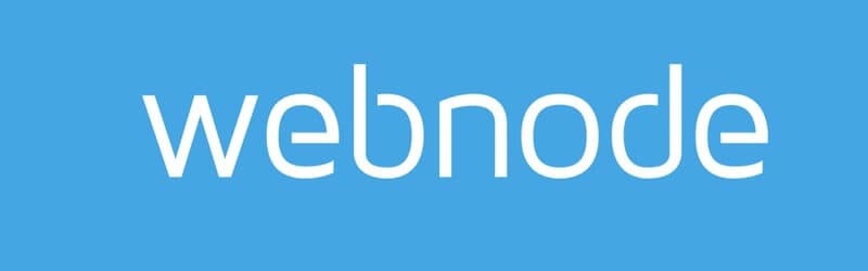 Webnode logo, white letters in a blue background