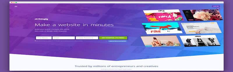 """Strikingly webpage, backgound in purple, in white is written """"Make a website in minutes"""""""