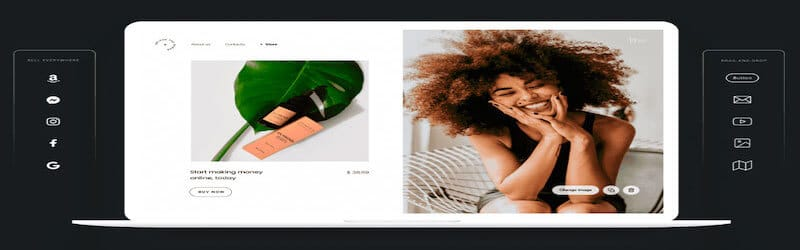 The image shows Zyro interface, on the left side there is the image of a beauty produtc and on the right side the image of a black woman smiling with the hands on her face