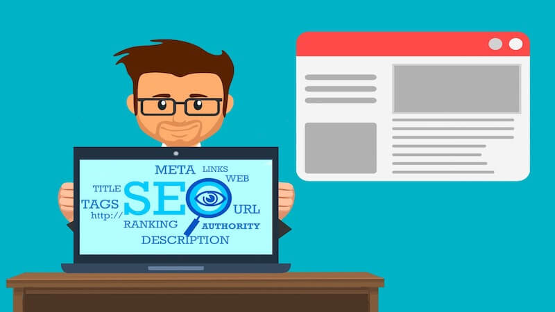 The image show the ilustration of a guy holding a screen where it's written SEO, tittle, tacs, meta linkls, web, URL and other termos
