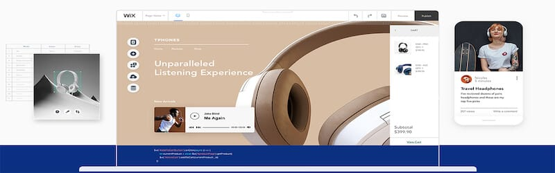 The image shows Wix interface with several screens open, on the right side there is a small screen showing white headphones, in the center there is an image of Wix website, and on the left side there is an small screen with a girl with headphones