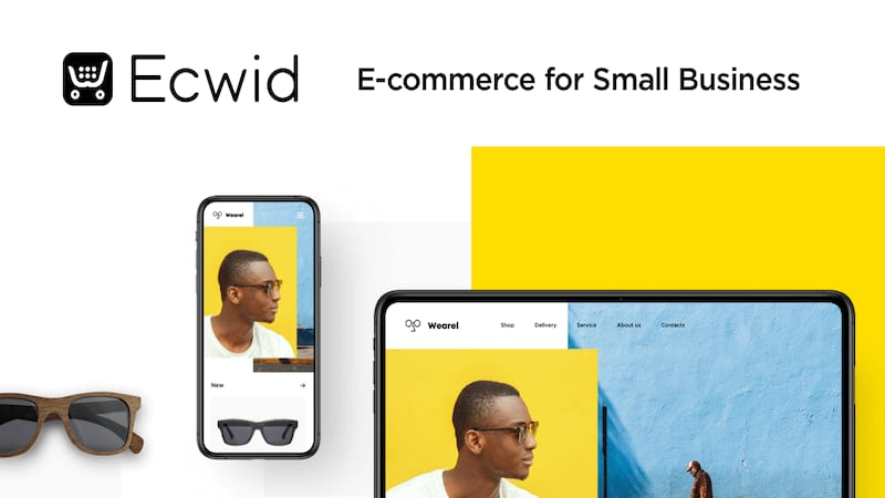 Ecwid website screen where it shows a men wearing sunglasses, on the left side we can see the same men on a smartpohne screen and the sunglasses below it