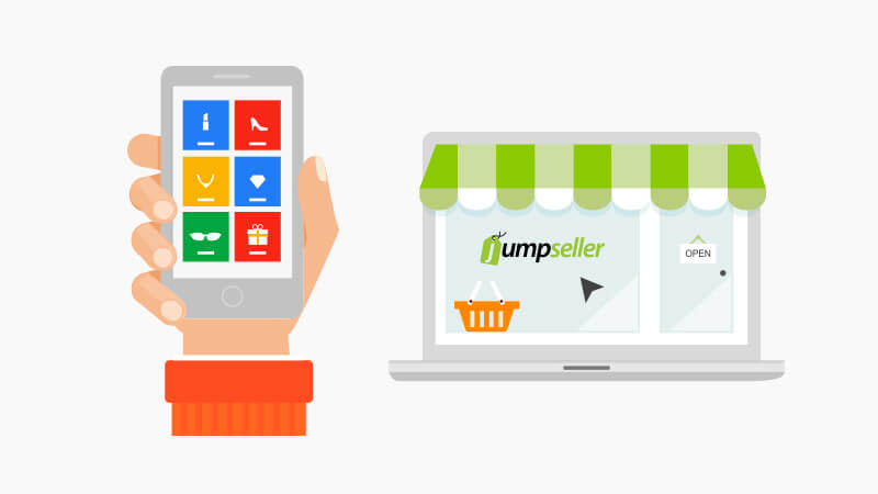 On the left side we can see a hand showing a smartphone screen with several icons on it, on the right side there is a laptop screen with Jumpseller's logo'