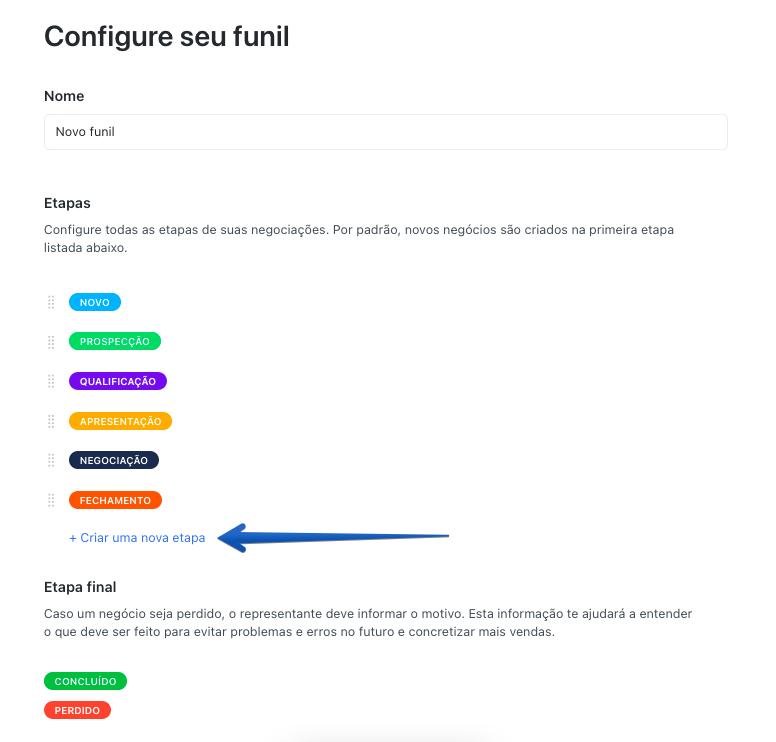 Captura de tela indicando botão de criação de uma nova etapa