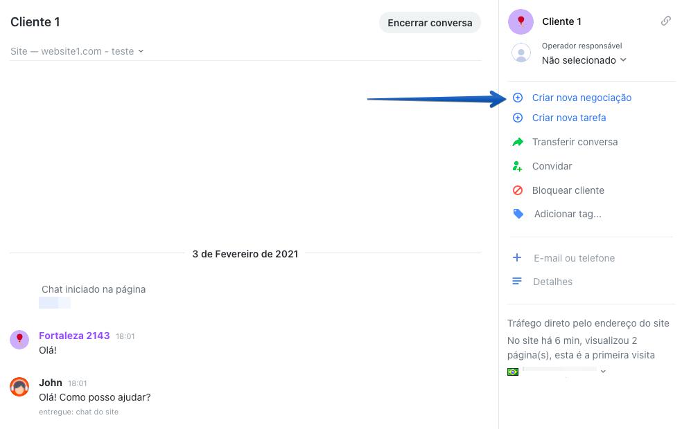 Captura de tela demonstrando como criar uma nova negociação