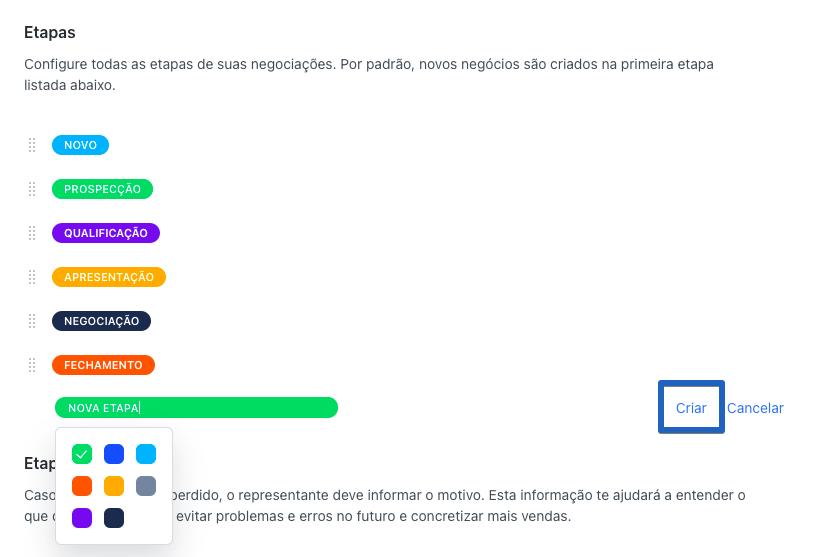Captura de tela indicando seleção de cor para uma nova etapa