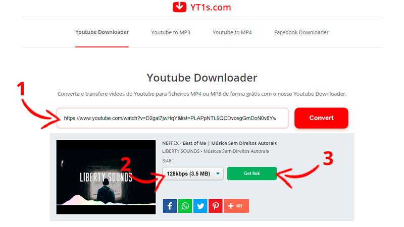 Tela inicial do site YT1s com instruções de download