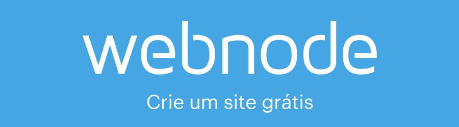 Logo da Webnode com texto crie um site grátis