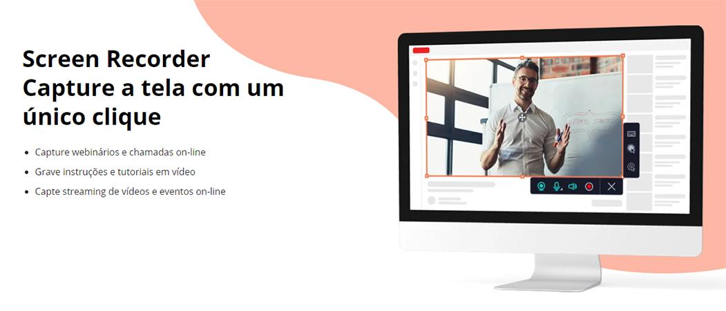 Banner do Screen Recorder com fundo branco e rosa e uma tela de computador sendo gravada