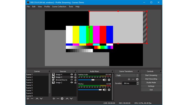 Captura de tela inicial do programa OBS Studio.