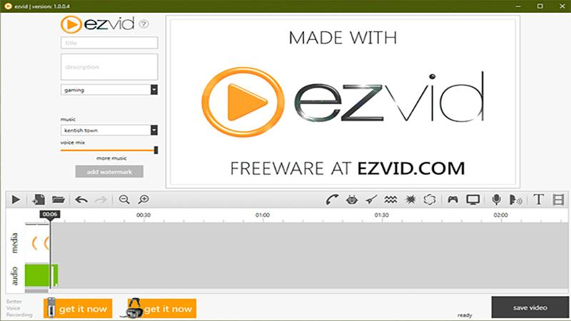 Foto da tela inicial do programa Ezvid com a logo no centro