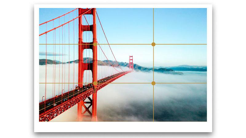 Foto de uma ponte respeitando a regra dos terços