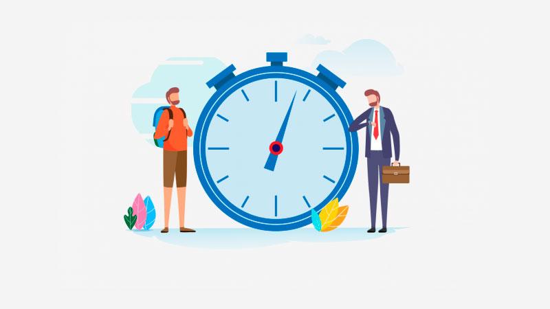 relógio no centro da tela com a mesma pessoa vestida para o trabalho na direita e vestida para uma caminhada na esquerda