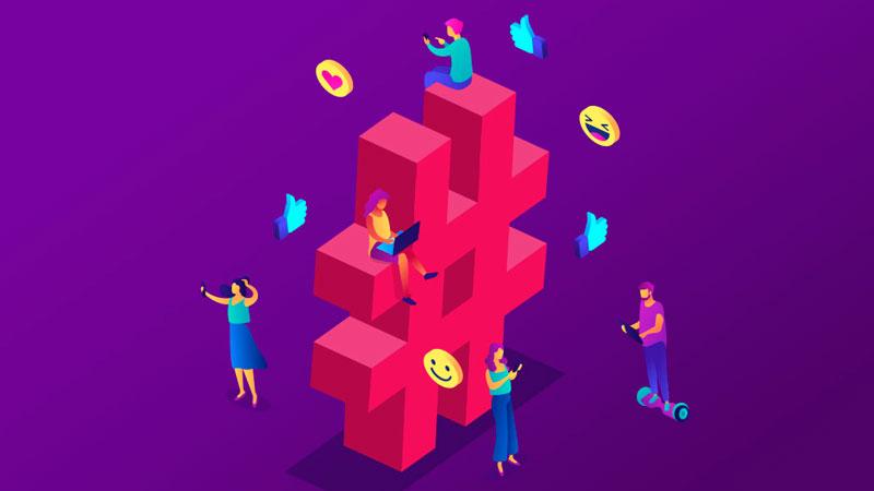 pessoas reagindo nas redes sociais através de hashtags